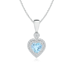 Diamond Double Halo Aquamarine Heart Necklace Pendant