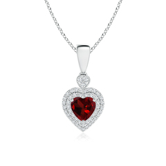 Diamond Double Halo Garnet Heart Necklace Pendant