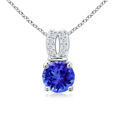 Round Tanzanite Solitaire Pendant Necklace with Diamond Split Bail