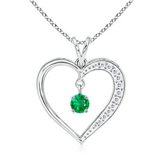 Dangling Round Emerald Open Heart Pendant Necklace