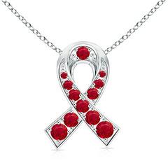 14k White Gold Round Ruby Ribbon Pendant Necklace