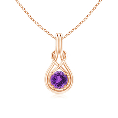 Round Amethyst Infinity Knot Necklace in 4-Prong Setting