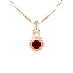 Round Ruby Infinity Knot Pendant Necklace