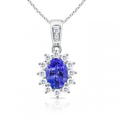 Oval Tanzanite Pendant Necklace with Diamond Cluster Halo