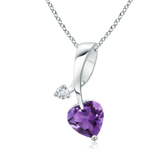Twisted Heart Shaped Amethyst Necklace with Diamond