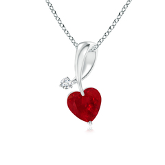 Twisted Heart Shaped Ruby Necklace with Diamond