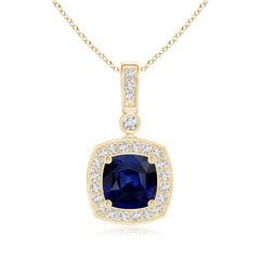 Diamond Halo Vintage Cushion Cut Sapphire Necklace Pendant