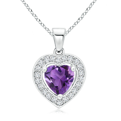Vintage Style Floating Amethyst Heart Pendant with Diamond Halo