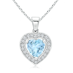 Vintage Style Floating Aquamarine Heart Pendant with Diamond Halo