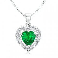 Vintage Style Floating Emerald Heart Pendant with Diamond Halo