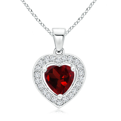 Vintage Style Floating Garnet Heart Pendant with Diamond Halo