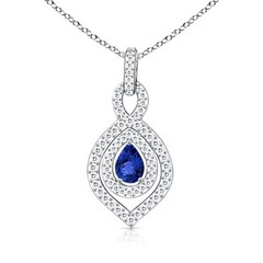 Diamond Double Halo Pear Shaped Tanzanite Pendant Necklace