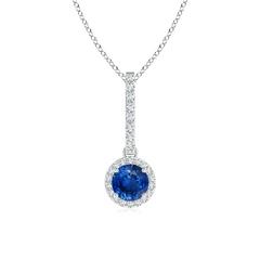 Dangling Round Sapphire and Diamond Halo Pendant