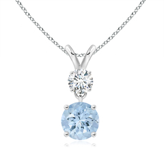 Two Stone Round Diamond and Aquamarine Pendant Necklace