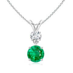 Two Stone Round Diamond and Emerald Pendant Necklace