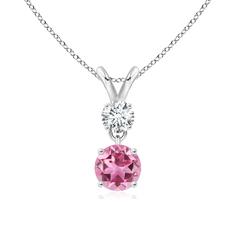 Two Stone Round Diamond and Pink Tourmaline Pendant Necklace