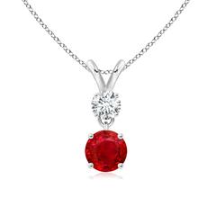 Round Ruby and Diamond Two Stone Pendant