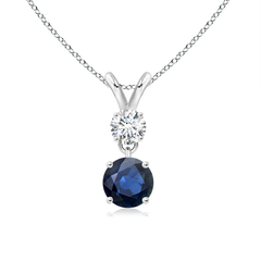 Round Sapphire and Diamond Two Stone Pendant