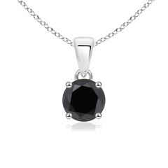 Round Enhanced Black Diamond Solitaire Necklace Pendant