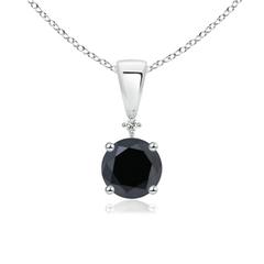 Solitaire Enhanced Black Diamond and White Diamond Dangling Pendant