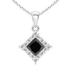 Classic Princess Cut Enhanced Black Diamond Pendant with Halo