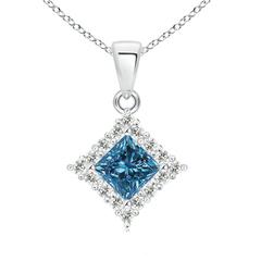 Classic Princess Cut Enhanced Blue Diamond Pendant with Halo