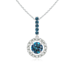 Floating Halo Round Enhanced Blue Diamond Drop Pendant Necklace