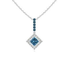 Floating Halo Princess Cut Enhanced Blue Diamond Drop Necklace