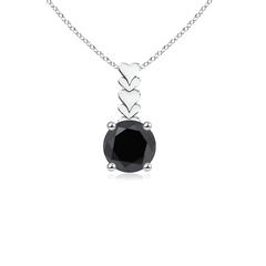 Prong Set Round Enhanced Black Diamond Solitaire Pendant Necklace