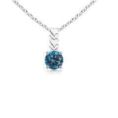 Prong Set Round Enhanced Blue Diamond Solitaire Pendant Necklace