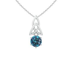Solitaire Round Enhanced Blue Diamond Celtic Knot Pendant
