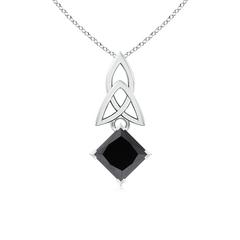Solitaire Princess Enhanced Black Diamond Celtic Knot Pendant