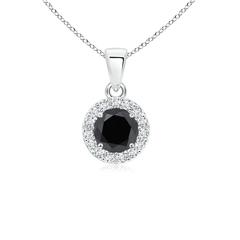 Prong Set Round White and Enhanced Black Diamond Halo Pendant