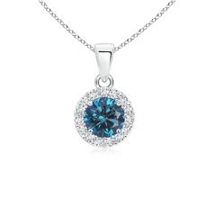 Prong Set Round White and Enhanced Blue Diamond Halo Pendant