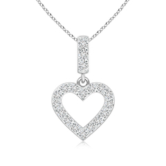 Prong Set Open Heart Diamond Pendant Necklace