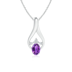 Solitaire Oval Amethyst Wishbone Pendant with Diamond Accents