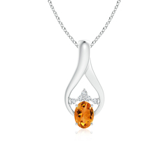 Solitaire Oval Citrine Wishbone Pendant with Diamond Accents