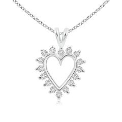 V-Bail Prong Set Open Heart Diamond Pendant Necklace