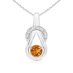 Solitaire Round Citrine Infinity Knot Pendant with Diamond