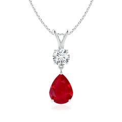 Prong Set V Bale Diamond and Ruby Drop Pendant