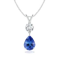 Prong Set V Bale Diamond and Tanzanite Drop Pendant