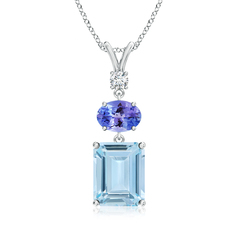 Tanzanite, Diamond and Aquamarine Three Stone Pendant