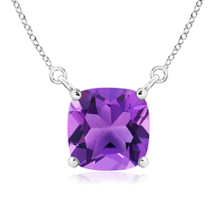 Classic Solitaire Cushion-Cut Amethyst Pendant