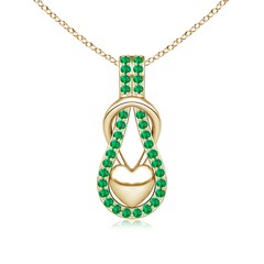 Emerald Studded Infinity Knot Pendant with Puffed Heart