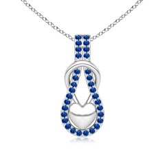 Sapphire Studded Infinity Knot Pendant with Puffed Heart