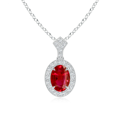 Oval Ruby and Diamond Halo Pendant with Milgrain Detailing