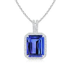 Claw Set Emerald Cut Tanzanite Halo Pendant with Diamond Accents