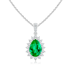 Claw Set Pear Emerald and Diamond Floral Pendant