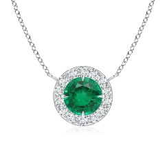 Emerald and Diamond Halo Necklace (GIA Certified Emerald)