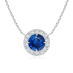 Claw-Set Blue Sapphire and Diamond Halo Necklace
